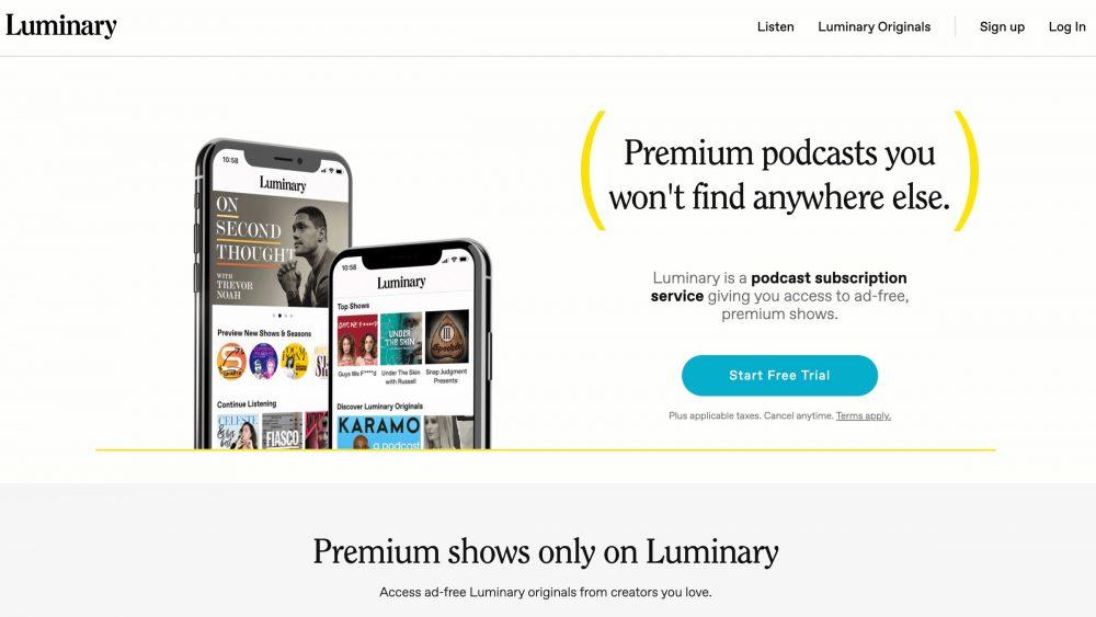Luminary homepage