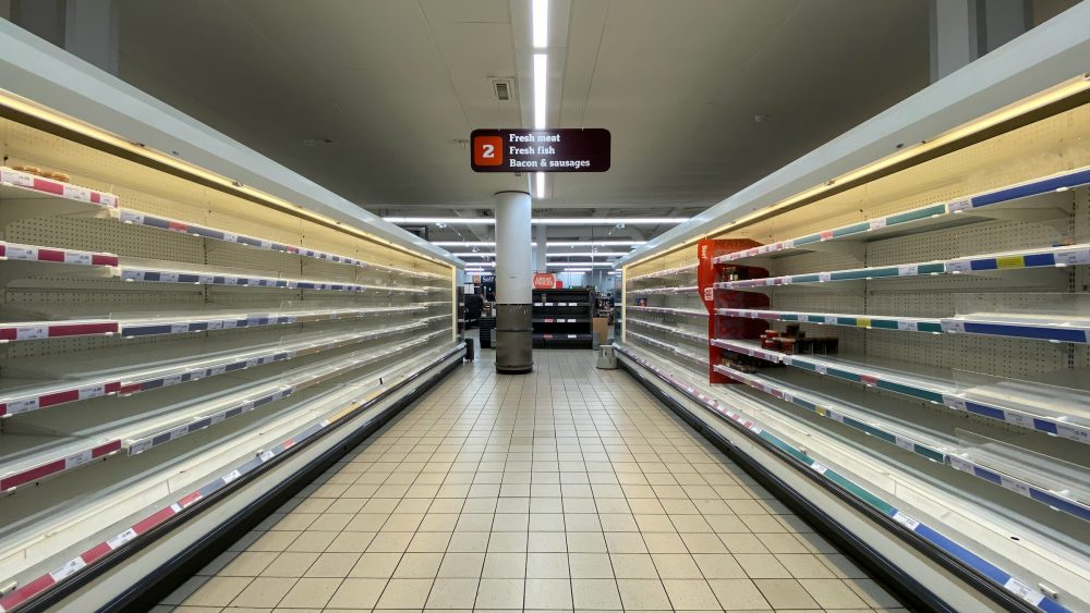 Empty grocery store aisles