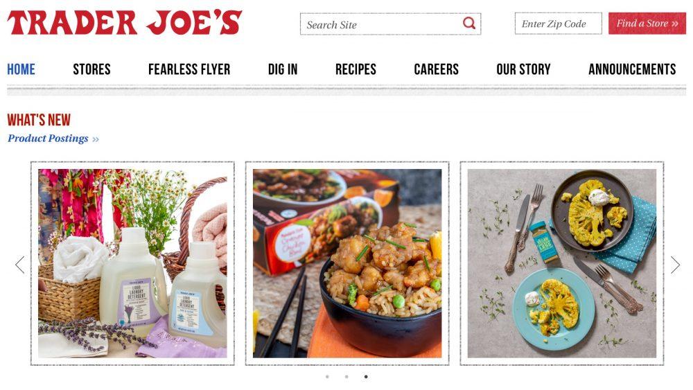 Trader Joe's homepage
