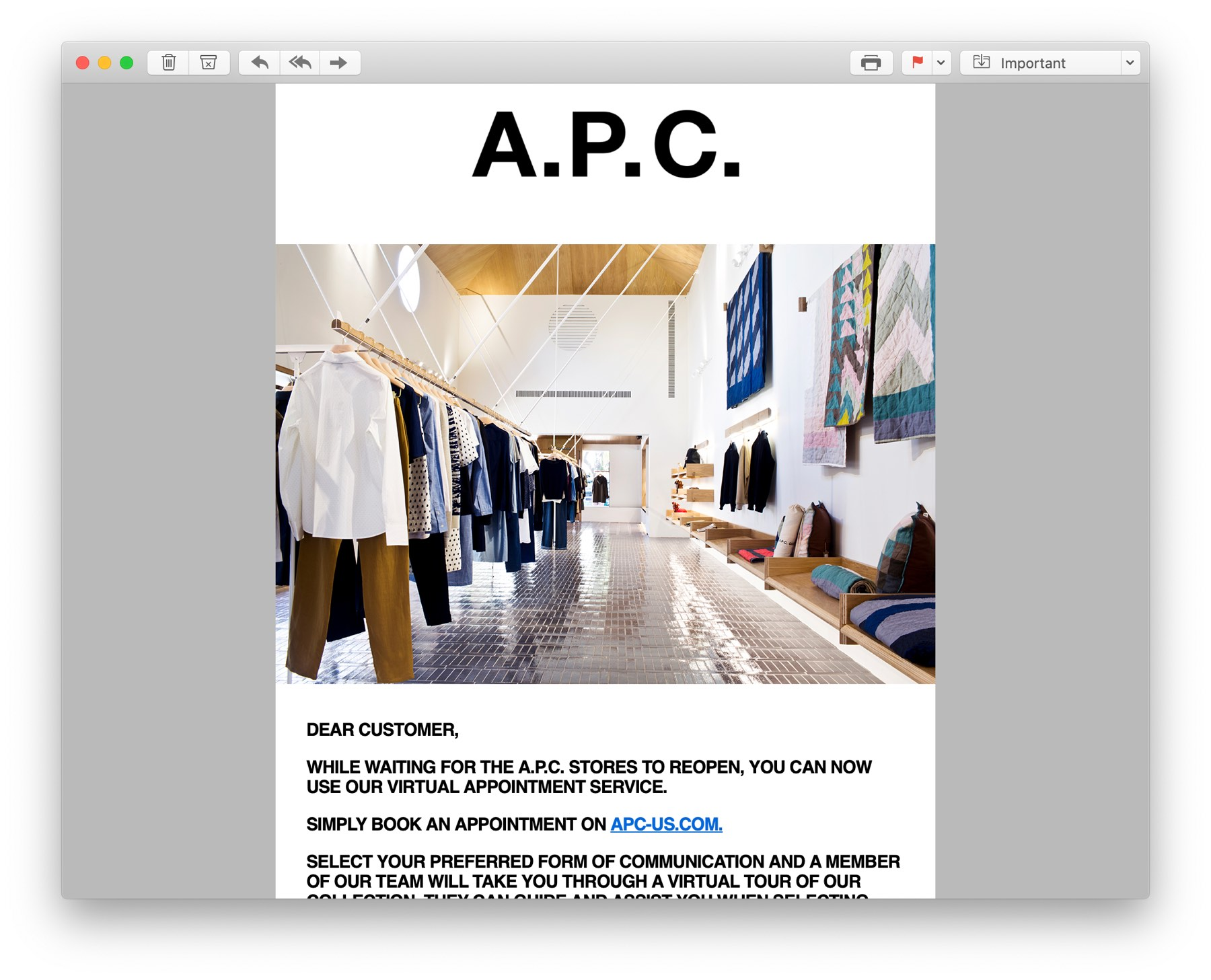 APC appointment marketing email
