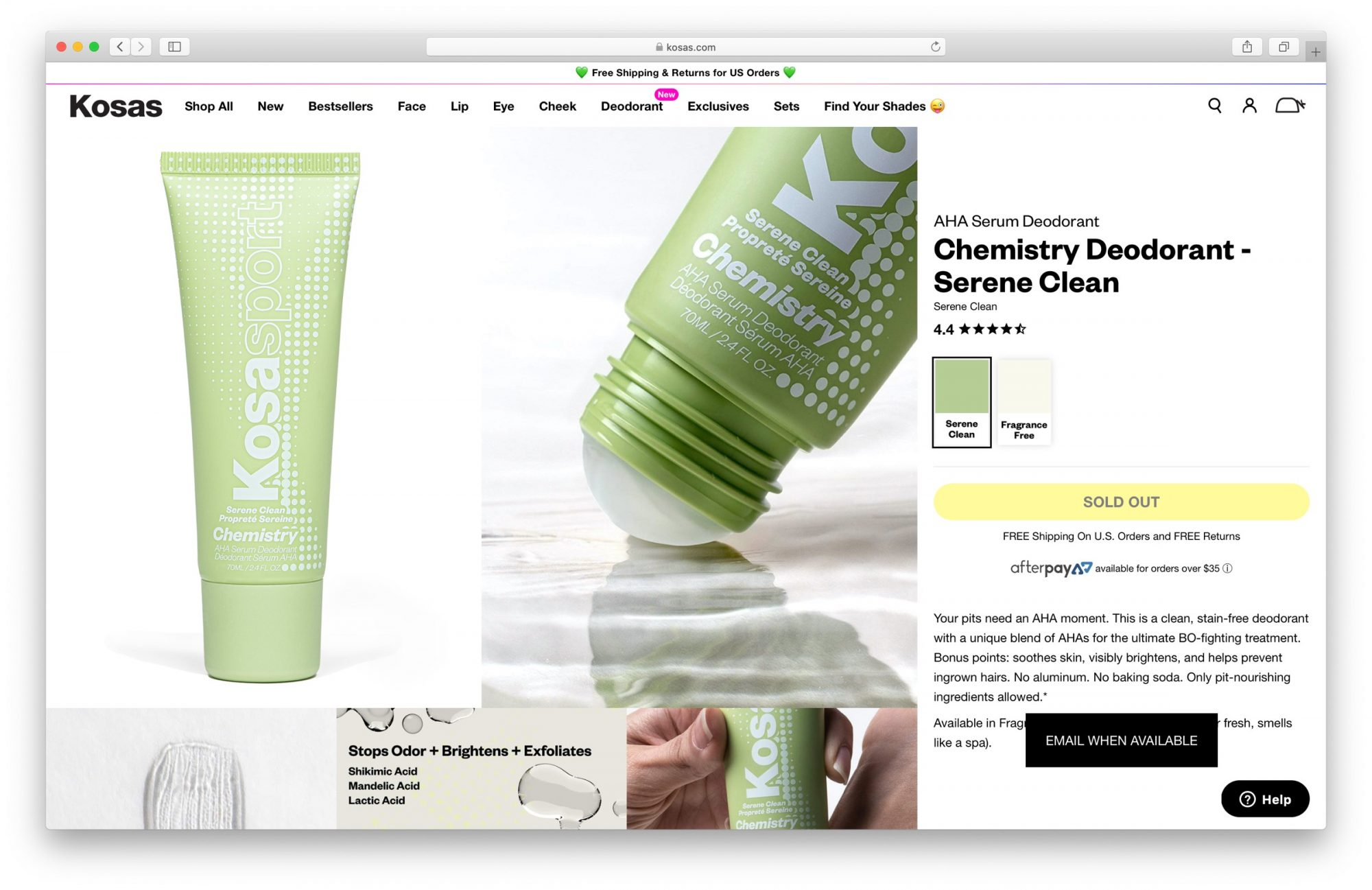 Kosas deodorant website
