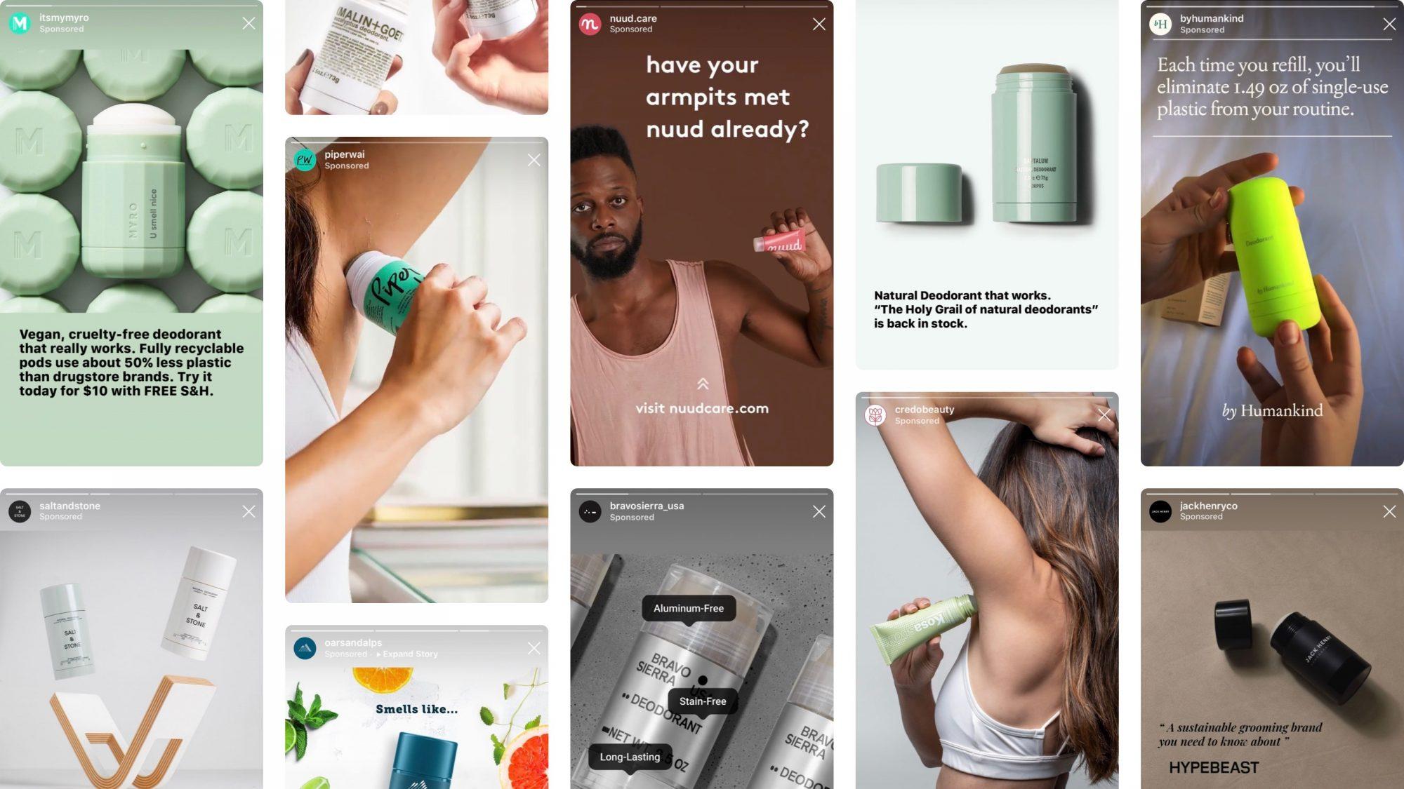 Natural deodorant Instagram ads