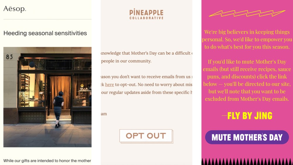 Mother's Day opt-out emails