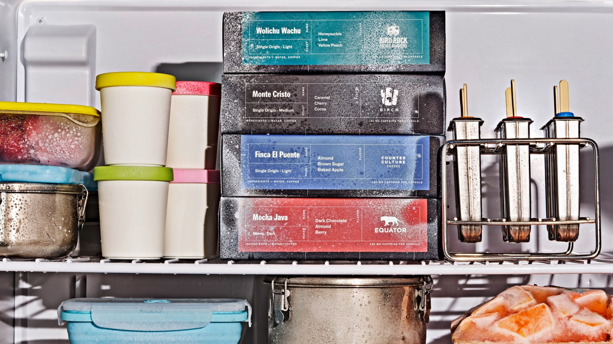 Cometeer boxes in the freezer
